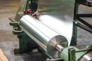 roll of sheet metal on machine