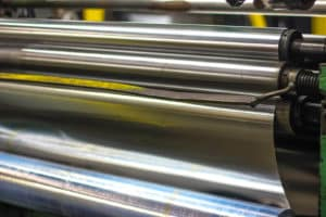 roll of stainless steel on metal processing machine