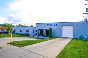blue exterior of Vortex Metals building